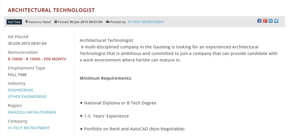 Architectural-Technologist-jobs-kzn