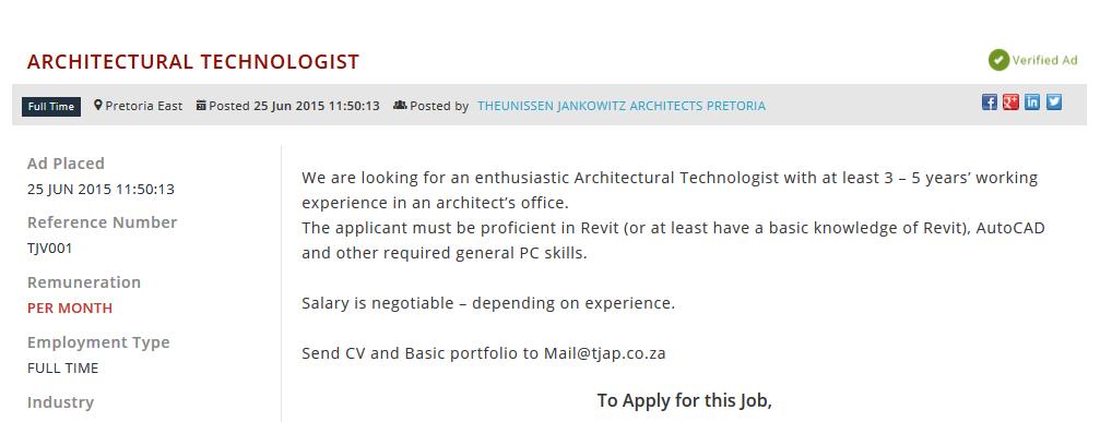 Architectural-Technologist-jobs-pretoria