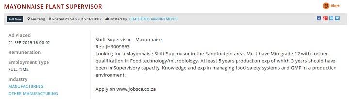 Mayonnaise-Plant-Supervisor