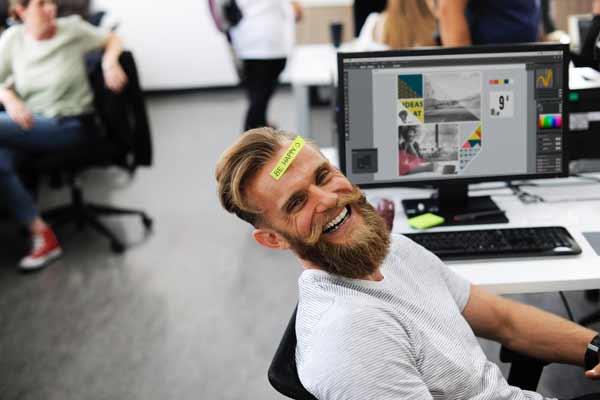Happy people in open office