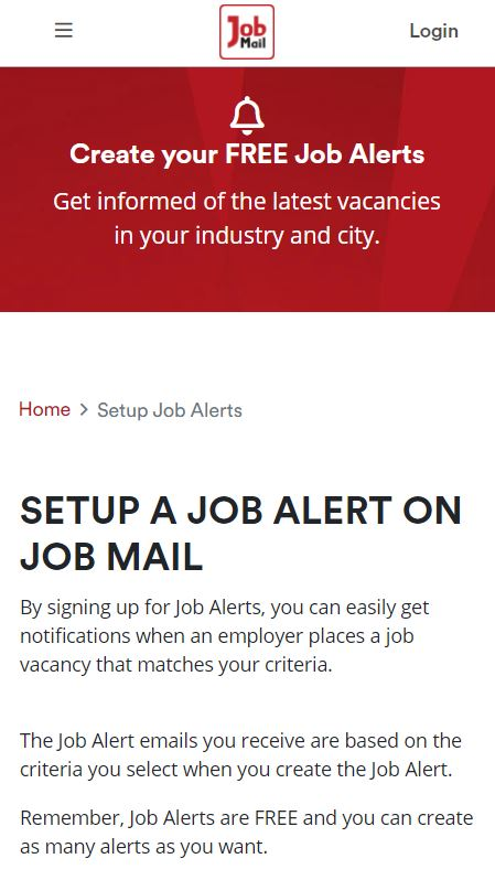 Job Mail Mobile Job Alerts Page