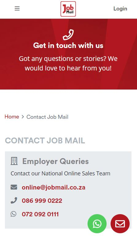 Job Mail Mobile Contact Us Page