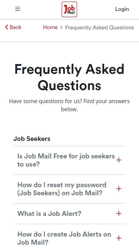 Job Mail Mobile FAQ Page