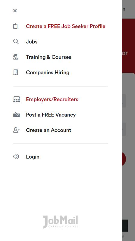 Job Mail Mobile Menu
