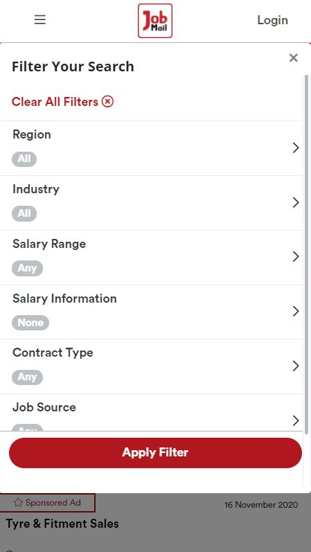 Job Mail Mobile Job Search Filters