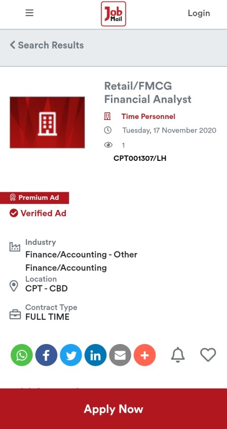 Job Mail Mobile Job Details Page