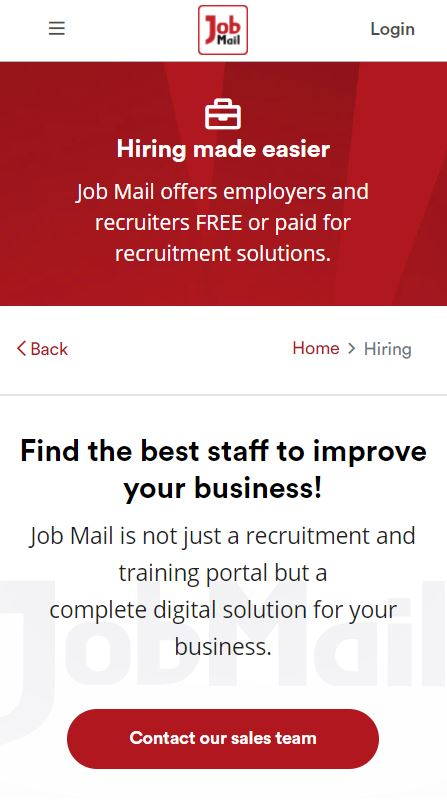 Job Mail Mobile Hiring Page
