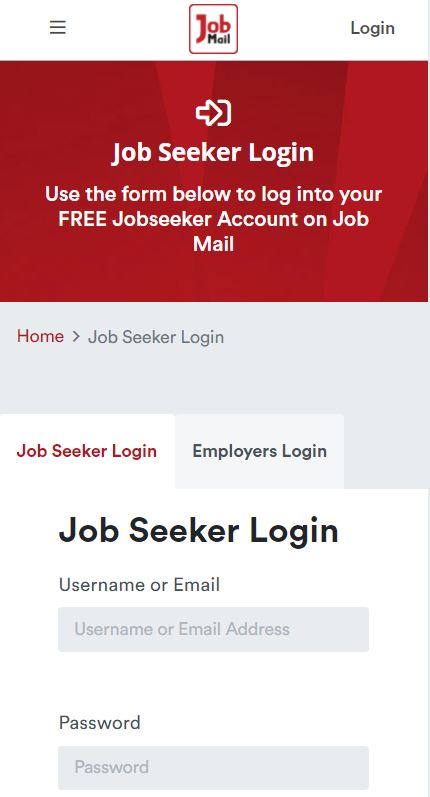 Job Mail Mobile Login Page