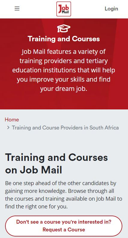 Job Mail Mobile Training and Courses Page