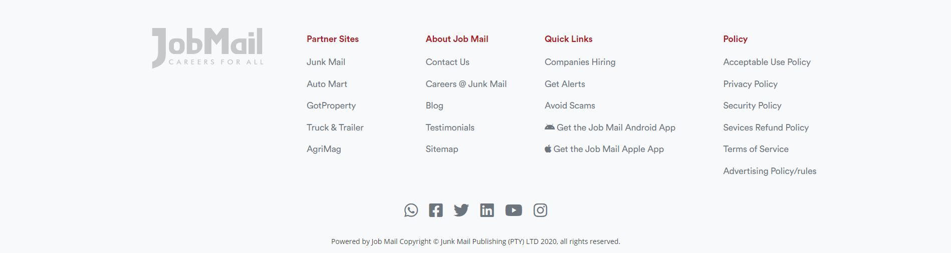 Job Mail Website Navigation